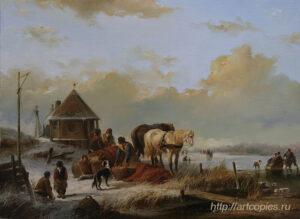 Деревенская сцена зимой. Зимний Голландский пейзаж. Шумайлов Д.А.