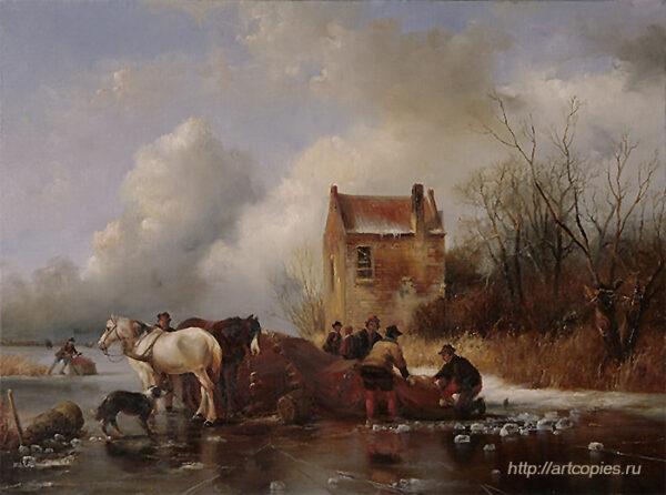 Погрузка на сани. Зимний Голландский пейзаж. Шумайлов Д.А.