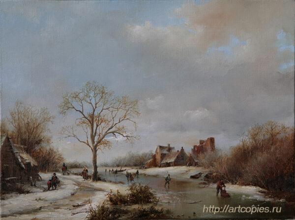 Деревня зимой у замёрзшей реки. Зимний Голландский пейзаж. Шумайлов Д.А.
