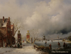 Зимний пейзаж с домом и рекой. Зимний Голландский пейзаж. Шумайлов Д.А.
