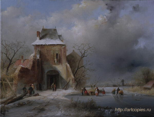 Зимний пейзаж с домом. Голландский пейзаж. Шумайлов Д.А.