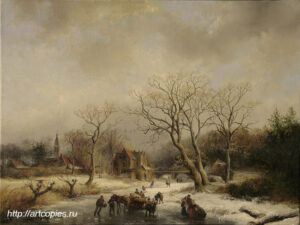Зимний пейзаж с деревьями. Голландский пейзаж. Шумайлов Д.А.