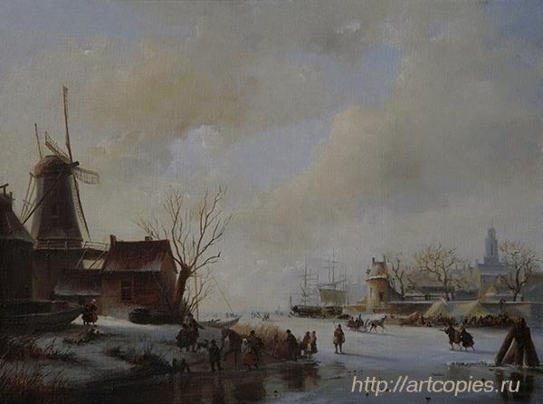 Деревенская мельница. Зимний Голландский пейзаж. Шумайлов Д.А.