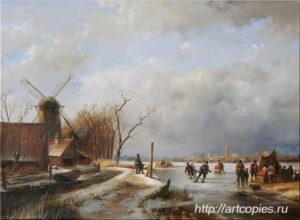 Катание на коньках и санях на реке. Шумайлов Д.А.
