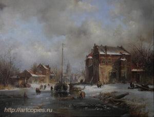 Зимний голандский пейзаж. Замёрзшая река. Шумайлов Д.А.