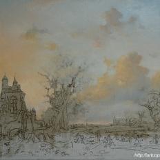 2-этап. Копия картины Fredrik Marinus Kruseman «Пейзаж с крепостью»