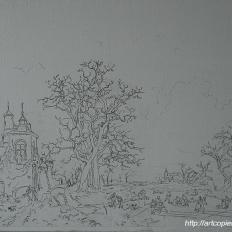 1-этап. Копия картины Fredrik Marinus Kruseman «Пейзаж с крепостью»