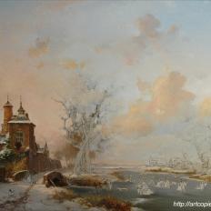 3-этап. Копия картины Fredrik Marinus Kruseman «Пейзаж с крепостью»