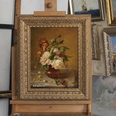 «Цветы в вазе на мраморном столе» Симон Сен-Жан