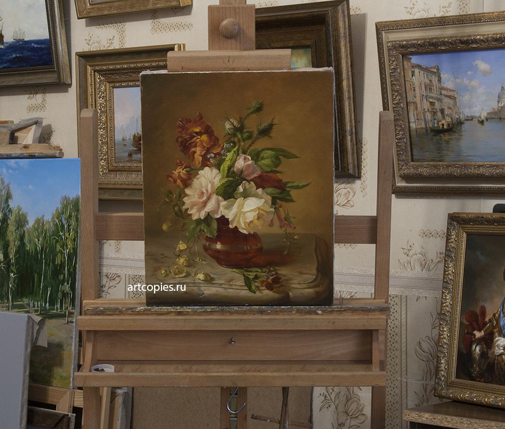 Копия картины «Цветы» Симон Сен-Жан в интерьере мастерской