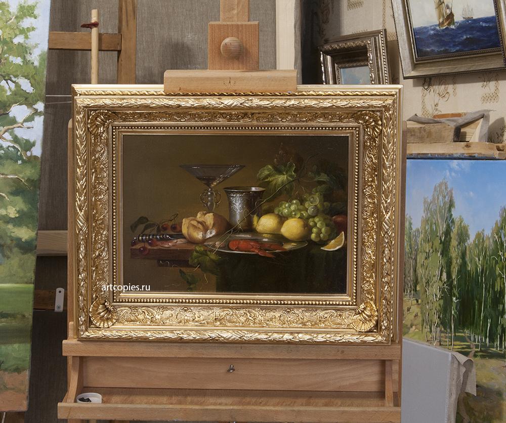 Копия картины «Голландский натюрморт с раком, креветками и фруктами» Ян Давидс де Хем
