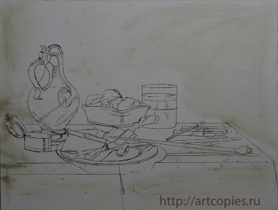 """1 этап """"Натюрморт с трубками и жаровней"""" Купить копию картины"""