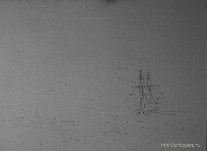 """1-этап копии картины Айвазовского И.К. """"Рыбаки на берегу моря"""""""