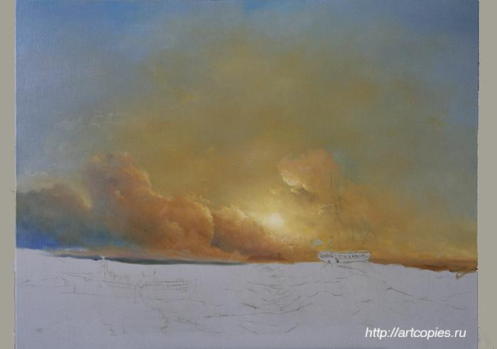 """2-этап копии картины Айвазовского И.К. """"Рыбаки на берегу моря"""""""