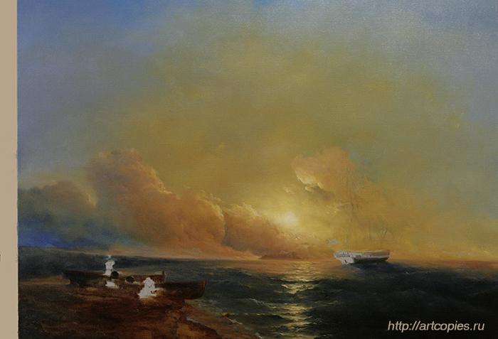 """3-этап копии картины Айвазовского И.К. """"Рыбаки на берегу моря"""""""