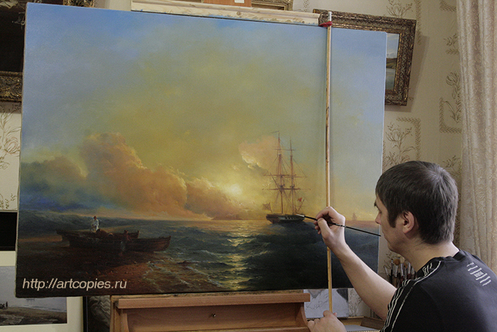 """5-этап копии картины Айвазовского И.К. """"Рыбаки на берегу моря"""""""