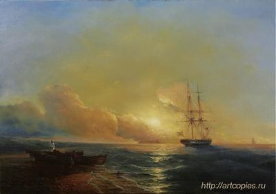 5-этап копии картины Айвазовского И.К. «Рыбаки на берегу