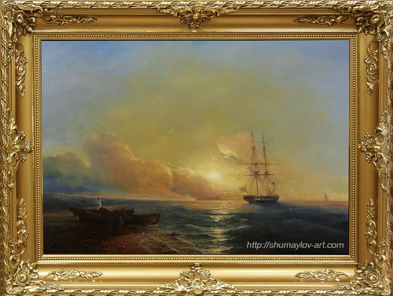 """7-этап копии картины Айвазовского И.К. """"Рыбаки на берегу моря"""""""