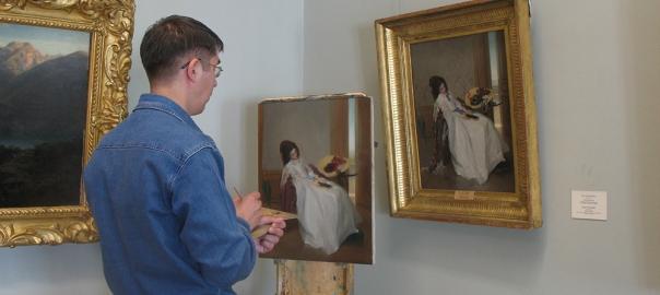 Копирование картины в музее Эрмитаж, художник Д.А.Шумайлов.