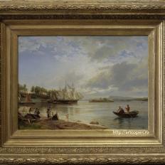 Копия картины «Пейзаж с парусником» Х.Гуде
