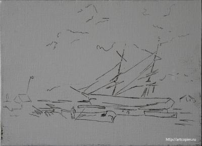 """Копия картины """"Рыбачьи лодки на морском берегу"""" в процессе копирования 1 этап"""