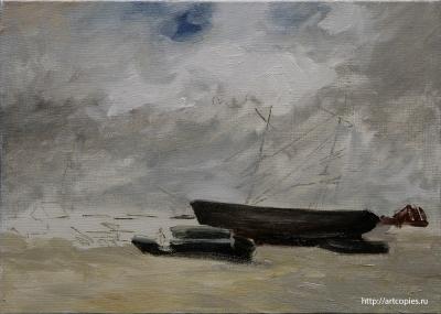 """Копия картины """"Рыбачьи лодки на морском берегу"""" в процессе копирования 2 этап"""