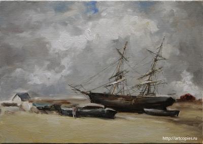 """Копия картины """"Рыбачьи лодки на морском берегу"""" в процессе копирования 3 этап"""