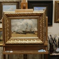 Копия картины «Рыбачьи лодки на морском берегу» (Трувиль. отлив). Эжен Буден
