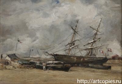 """Копия картины """"Рыбачьи лодки на морском берегу"""" в процессе копирования 4 этап"""
