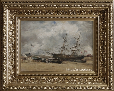 """Копия картины """"Рыбачьи лодки на морском берегу"""" оформлена в багет"""