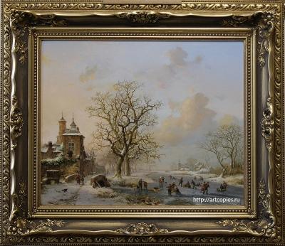 Копия картины Fredrik Marinus Kruseman «Пейзаж с крепостью»