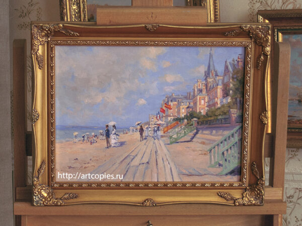 Oscar-Claude Monet The Boardwalk at Trouville