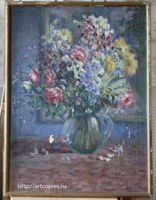 """Картина """"Цветы в стеклянной вазе"""" до реставрации"""