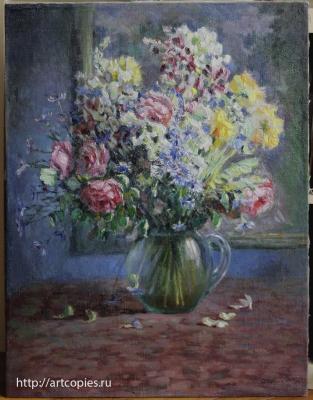 """Картина """"Цветы в стеклянной вазе"""" после реставрации"""
