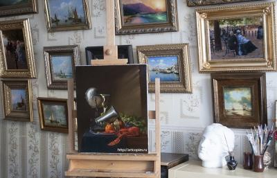 """Копия картины """"Натюрморт с наутилусом и омаром"""" Ян Давидс де Хем"""