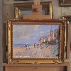 Копия картины Oscar-Claude Monet The Boardwalk at Trouville