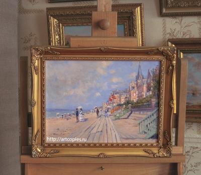"""Копия картины """"The Boardwalk at Trouville"""" Claude Monet в интерьере мастерской"""