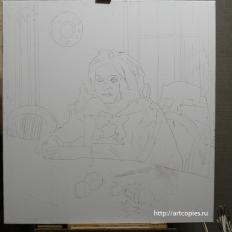 """1 этап. Копия картины в процессе написания. """"Девочка с персиками"""" В.Серов"""