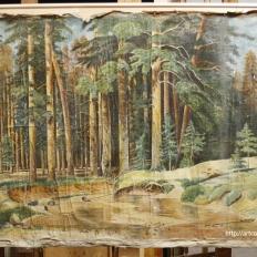"""Картина """"Лесной пейзаж"""", лицевая сторона до реставрации"""