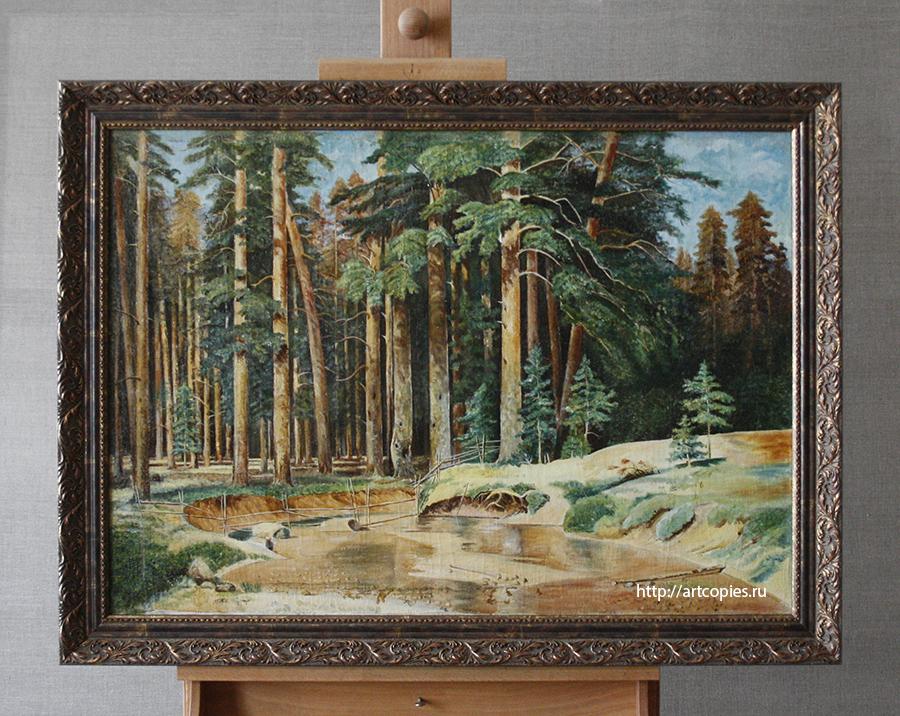 """Картина """"Лесной пейзаж"""", лицевая сторона после реставрации в оформлении багетом"""