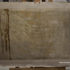 """Картина """"Лесной пейзаж"""", тыльная сторона в процессе реставрации"""