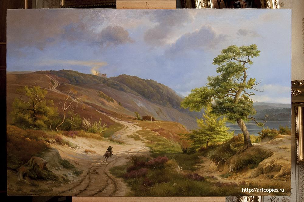 Копия картины «Germ rider in a landscape» Ludwig Gurlitt интерьере мастерской.