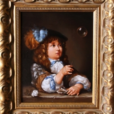 """Копия картины """"Мальчик надувающий мыльные пузыри"""""""