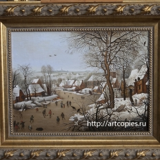 Копия картины «Зимний пейзаж с ловушкой для птиц» Питер Брейгель