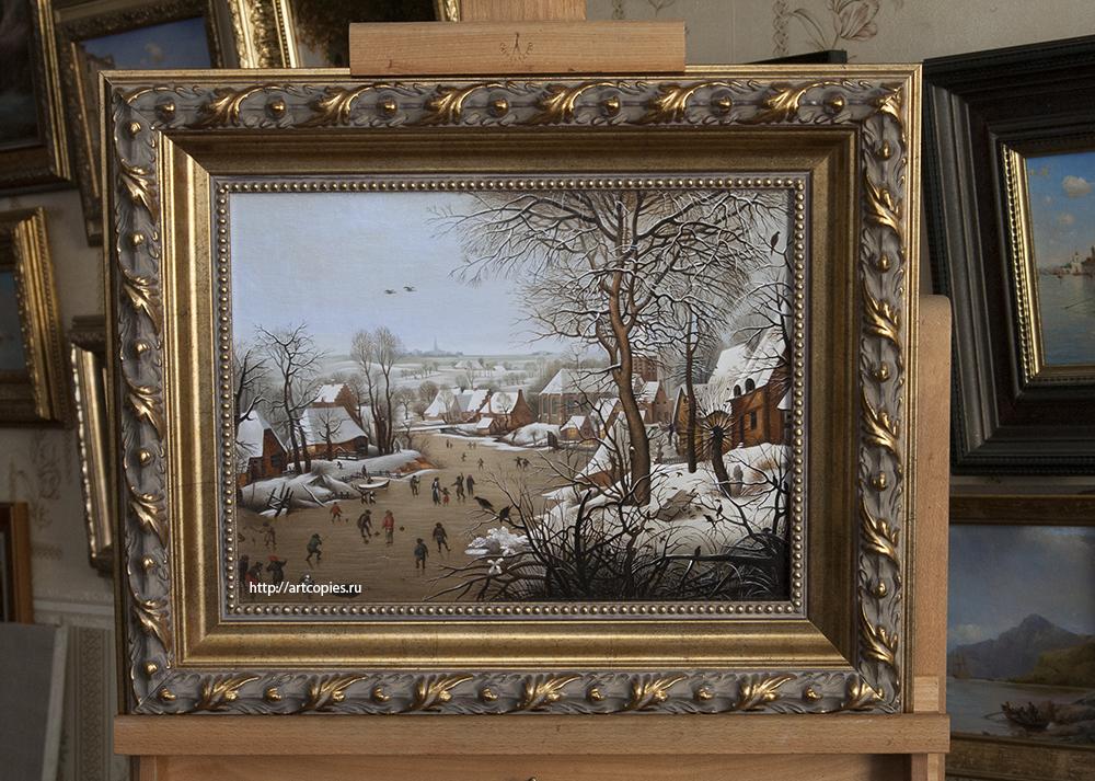 """Копия картины """"Зимний пейзаж с ловушкой для птиц"""" Питер Брейгель в интерьере мастерской"""