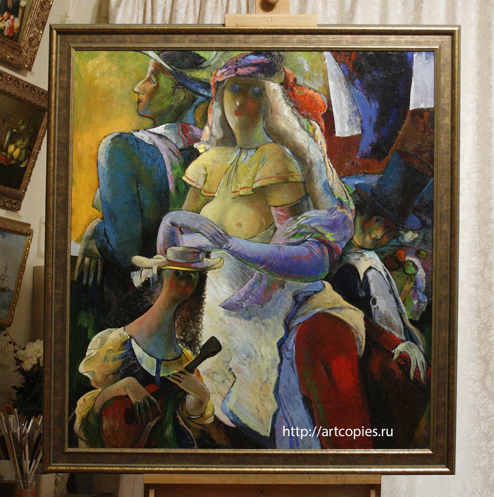 """Картина """"Театральный сюжет"""" после реставрации, оформленная в багет."""