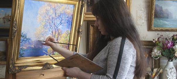 "Копирование картины ""Антиб, вид из садов Салис»"" К. Моне, художник Иордан Е.Р."