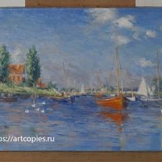 """Копия картины """"Красные лодки в Аржантёе"""" Клод Моне"""
