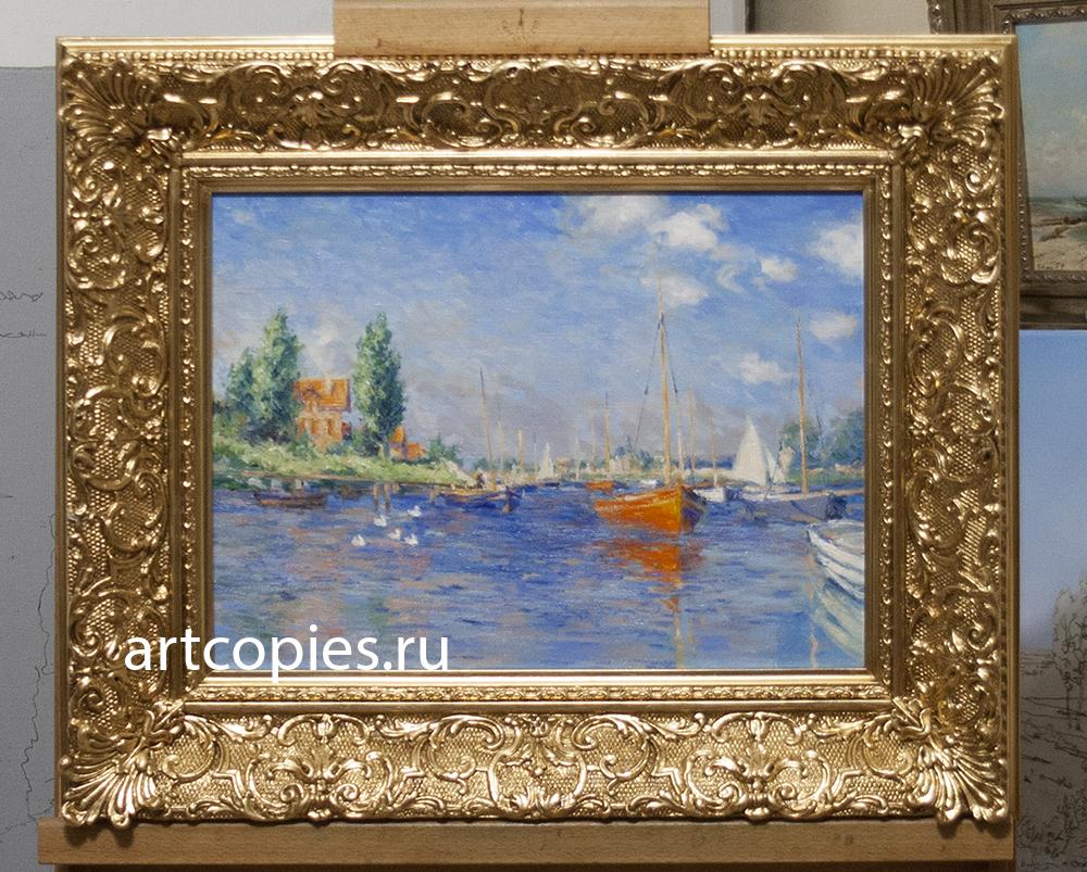 """Копия картины """"Красные лодки в Аржантёе"""", Клод Моне"""