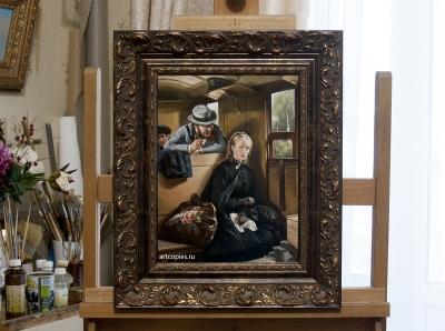 """Копия картины """"Назойливый незнакомец"""" Бертольд Волц в интерьере мастерской"""